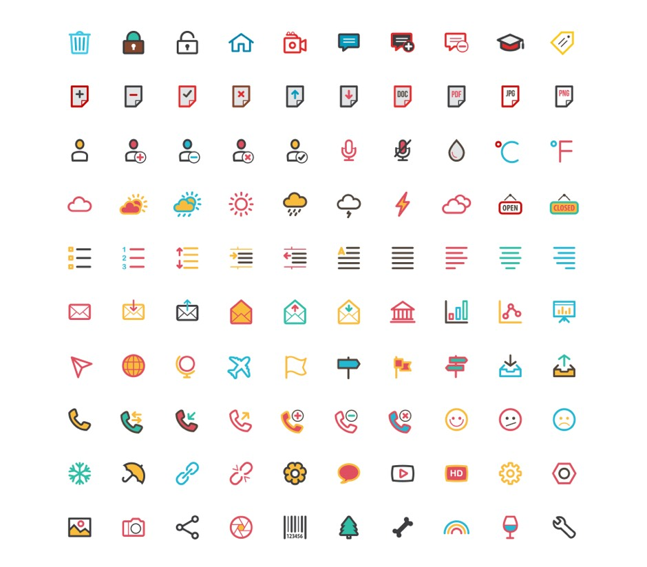 Free Flat Color Essentials Icons Ai Vector File