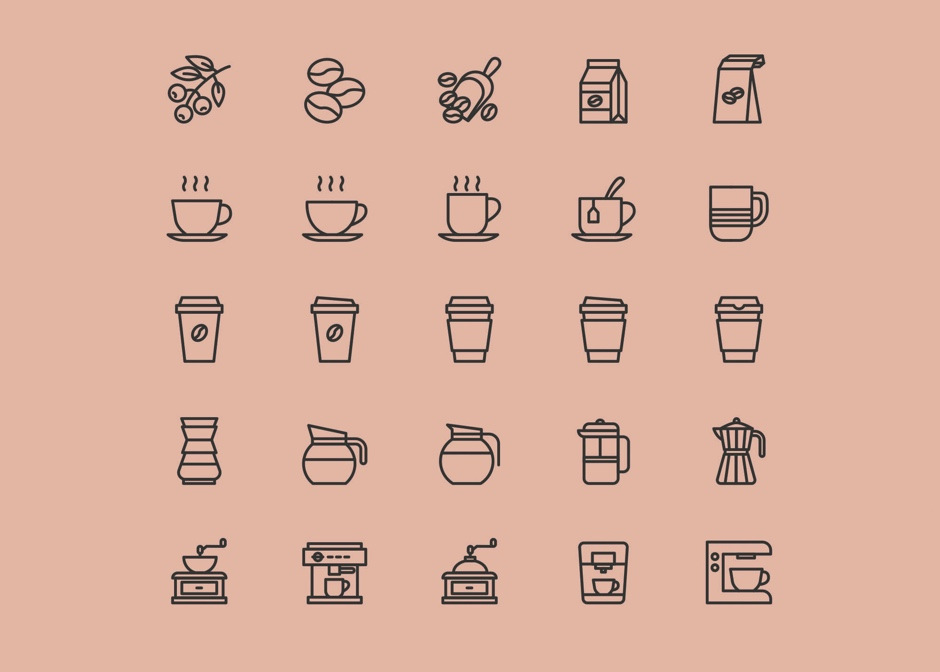 Coffee free icons Colored coffee