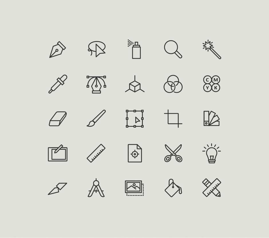 Graphic Design Icons Colored simple free icon vector