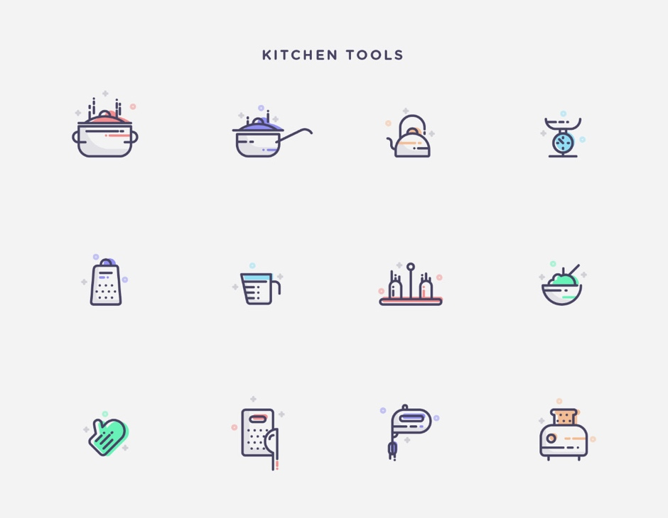Kitchen tools free icons vector