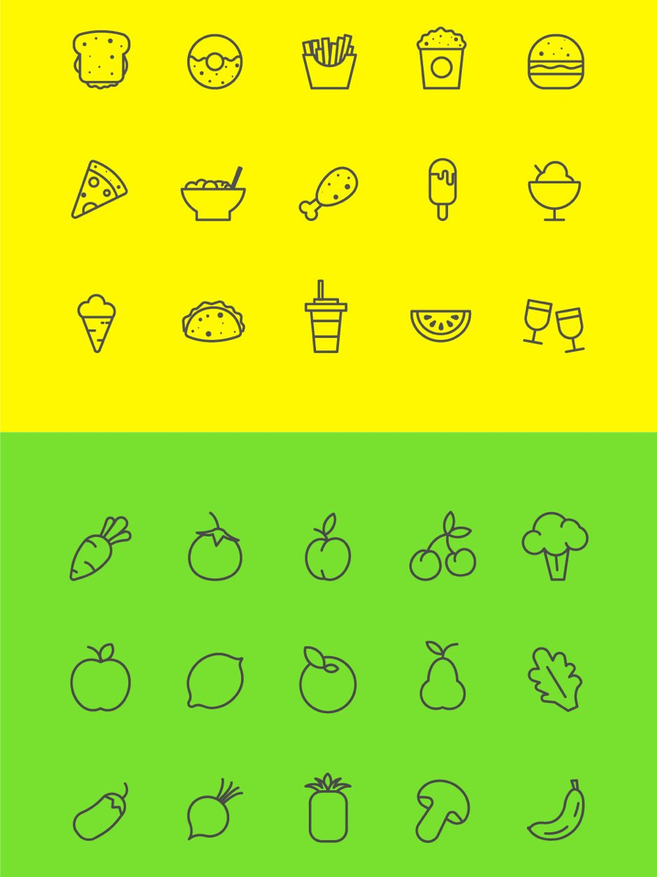 Food Veg Music free icons vector