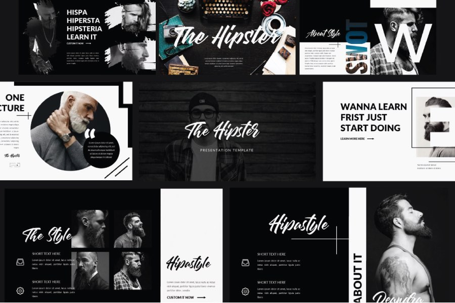 Hipster Free PPT Template Powerpoint Keynote Presentation Template Freebies