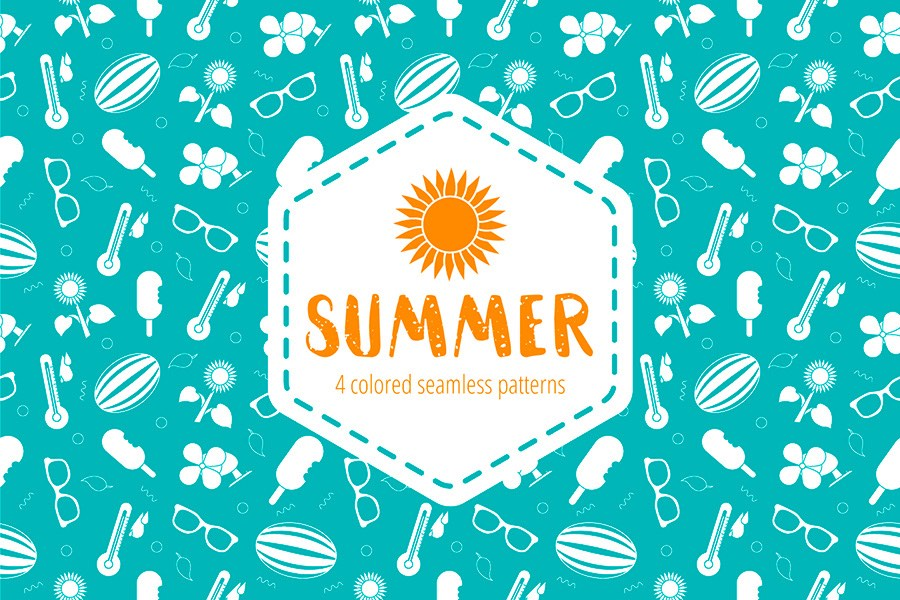 Summer patterns vector illustration ppt resources freebies