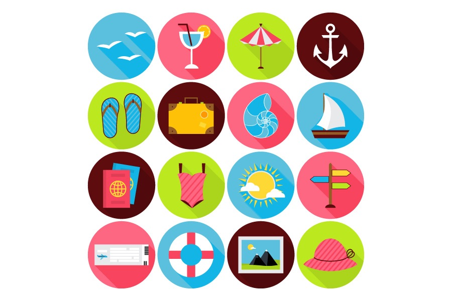 Summer travel flat icons vector ppt resources freebies