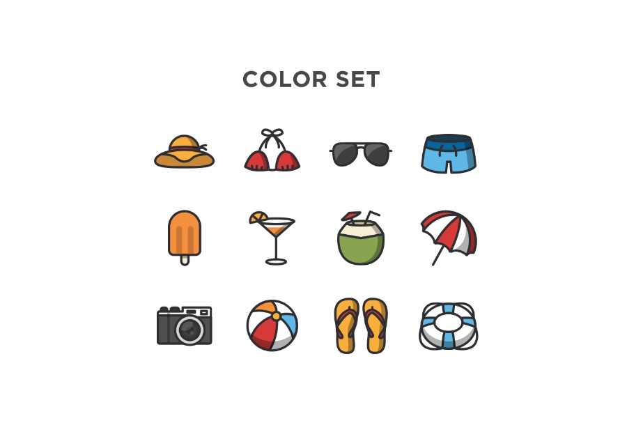 Summer fruity icons vector ppt resources freebies