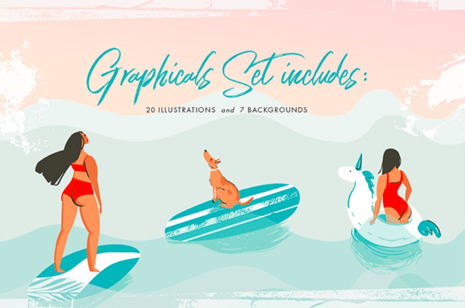 Summer graphics vector illustration ppt resources freebies