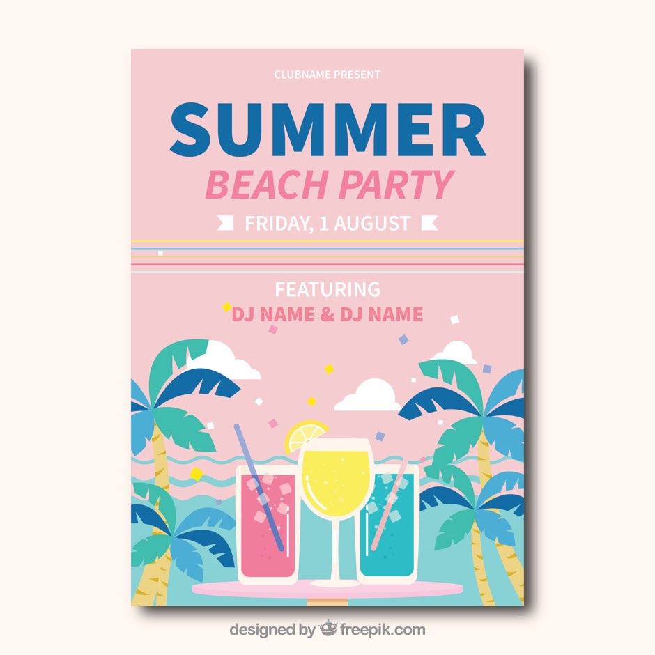 Summer party vector illustration ppt resources freebies